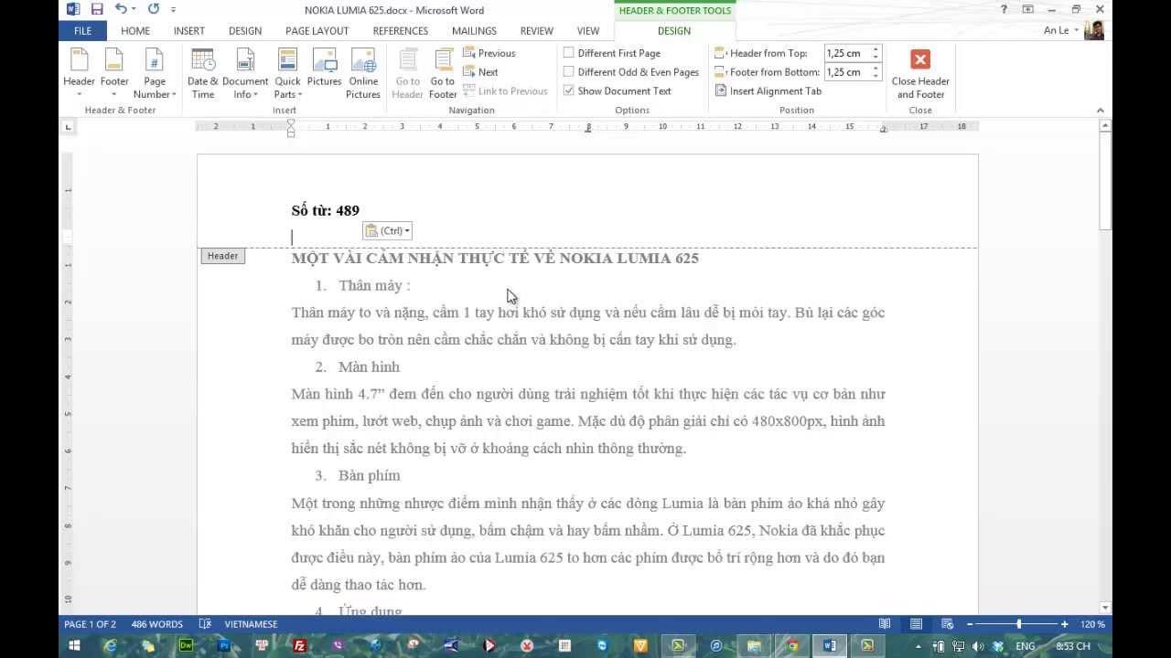 Hướng dẫn đếm số lượng từ có trong tài liệu trên Word 2013