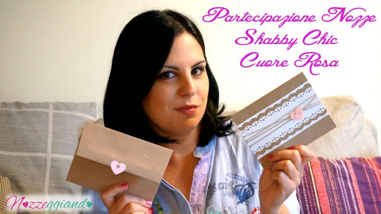 abbastanza Partecipazione Nozze Shabby Chic Cuore Rosa Tutorial Nozzeggiando  GZ41