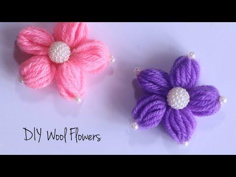 Wool Flower Making | How to make woolen flowers | DIY Wool Crafts