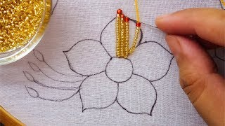 beads embroidery flower |hand embroidery fancy flower design