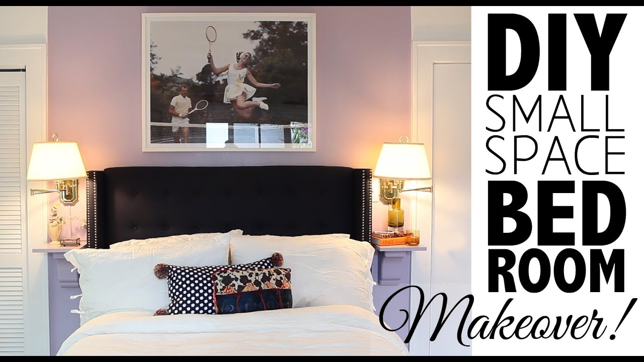 Diy small space bedroom makeover home decor youtube for Diy small bedroom decor ideas
