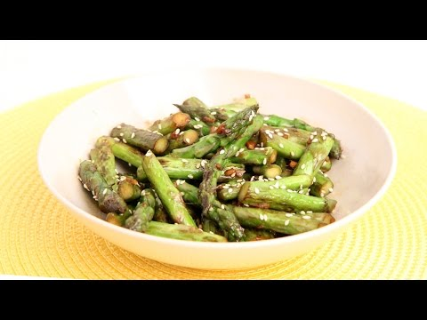 Garlic Sesame Stir Fried Asparagus Recipe Laura Vitale Laura in the Kitchen Episode 883