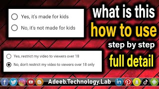 🔴Youtube new option Made for Kids and viewers over 18 in Hindi and Urdu