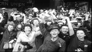 US President Harry S. Truman announces the surrender of Japan and civilians celeb...HD Stock Footage