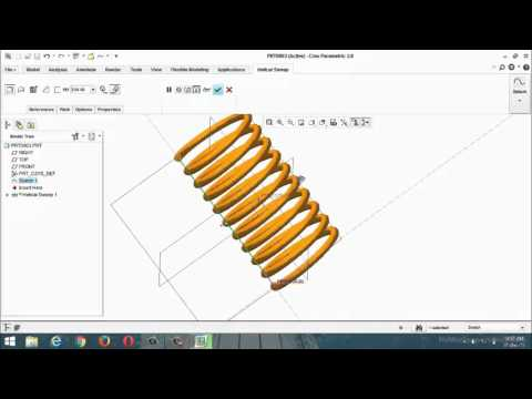 pro-e(creo) part design sweep,helical sweep,swept blend features (class-8)