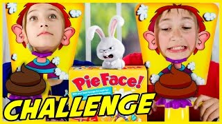 PIE FACE GAME CHALLENGE WITH FUNFETTI! BLIND BAGS SECRET LIFE OF PETS, ALICE IN WONDERLAND
