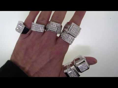 Over 50 Carats Of Mens White Gold Diamond Rings