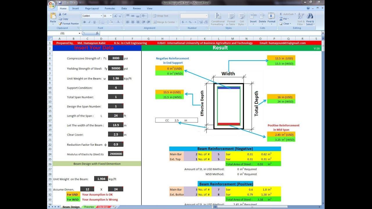 Beam Design Spreadsheet - #GolfClub