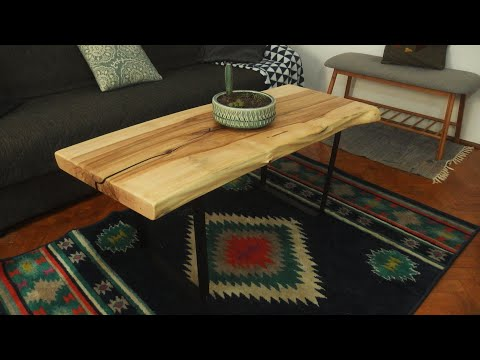 Live edge coffee table with epoxy