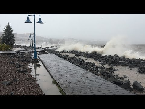 Duluth Lakewalk Damaged By Powerful Waves in October 2017 Storm