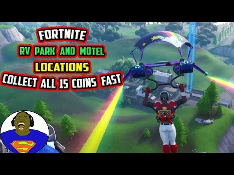 FORTNITE RV PARK LOCATION - SEARCH CHESTS OR AMMO BOXES AT MOTEL OR RV PARK, ALL CREATIVE COINS