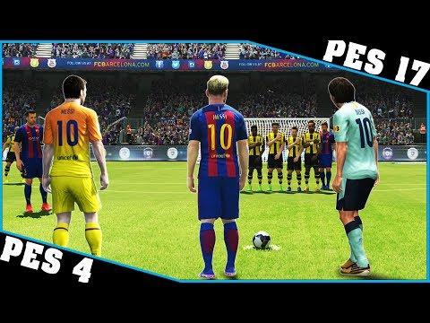 LIONEL MESSI free kicks evolution [PES 4 -...
