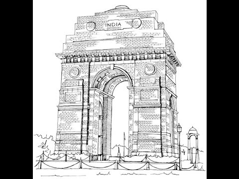 How to draw India Gate Drawing step by step - YouTube