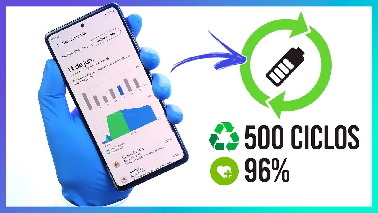 🔵 Saiba quantos ciclos e porcentagem da vida útil da bateria do seu SAMSUNG   O que de fato importa?