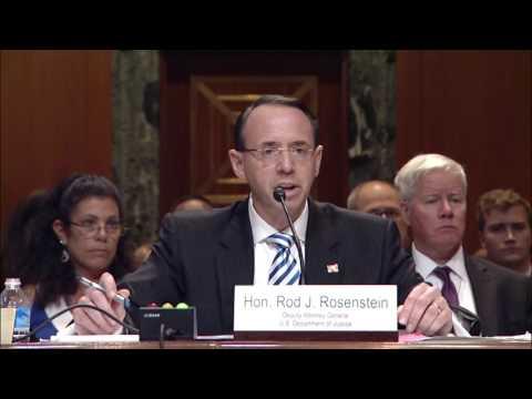 Senator Coons questions Deputy AG Rod Rosenstein June 13, 2017