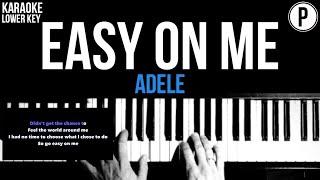 Adele - Easy On Me Karaoke LOWER KEY Acoustic Piano Instrumental Cover Lyrics