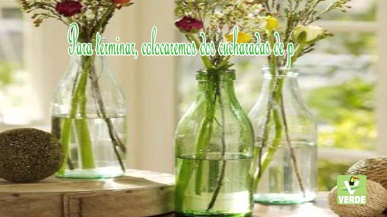 Tips verdes como hacer floreros con botellas y frascos de - Que hacer con botellas de vidrio ...