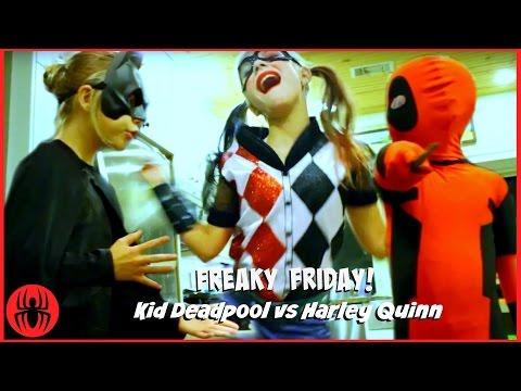 Kid Deadpool Batman vs Harley Quinn FREAKY FRIDAY Filming Gone Wrong! superhero kids real life comic