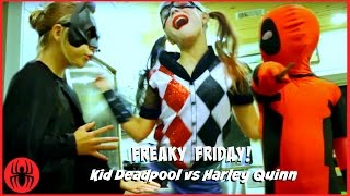 Kid Deadpool Batman vs Harley Quinn FREAKY FRIDAY Filming Gone Wrong! superhero kids real life comic thumbnail