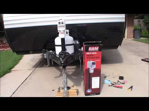 Electric Hitch Jack install RV, Camper or utility trailer