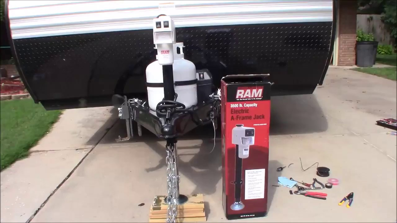 small resolution of electric hitch jack install rv camper or utility trailer youtubeelectric hitch jack install rv