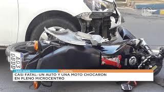 Violento siniestro en Capital: un auto arrolló a una motociclista