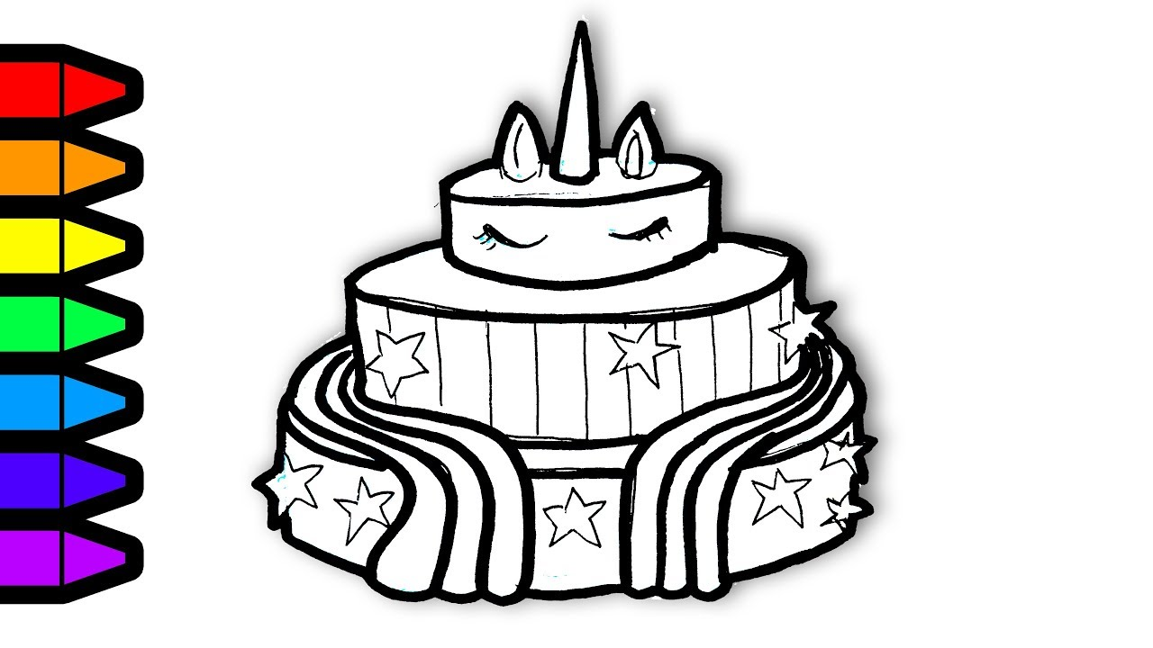 Drawing And Coloring Unicorn Cake Colouring Page Art For Kids To