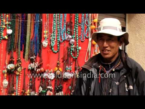 Nyalam town in Shigatse Prefecture of Tibet: Tibetan traders sell jewellery
