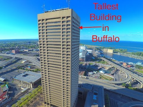 One Seneca Tower and Buffalo NY Waterfront Drone Flight on a Sunny morning!