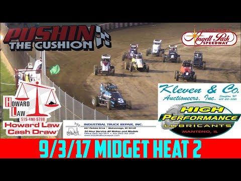 Angell Park Speedway - 9/3/17 - Midgets - Heat 2