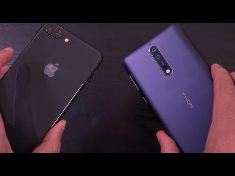 iPhone 8 Plus vs  Nokia 8 - Speed Test!