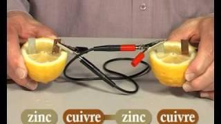 On peut construire une pile électrique très simple, à l'aide d'un c...