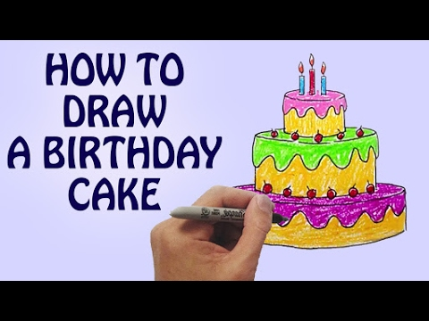 How To Draw A Birthday Cake For Kids Step By Drawing Lessons