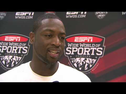 Miami Heat guard Dwyane Wade at ESPN Wide World of Sports talks AAU, LeBron James and Chris Bosh