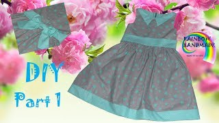 DIY: Звездно-мятное  платье для девочки / Mint  stars dress for girl