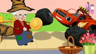Blaze Cars Monster Machines Babies Help The Old Man Funny Story! Blaze Monster Truck Cartoon