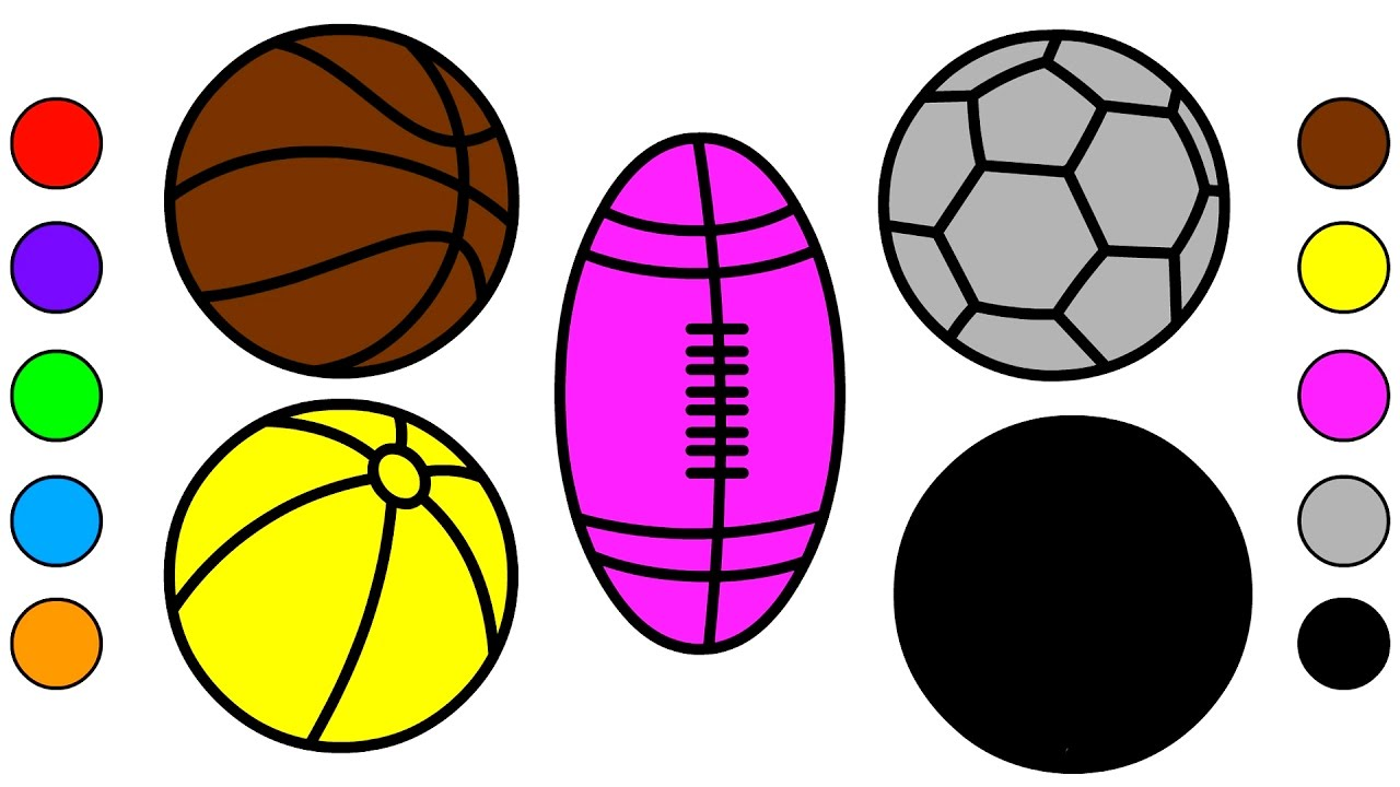 learn colors for kids with sport balls coloring pages colors