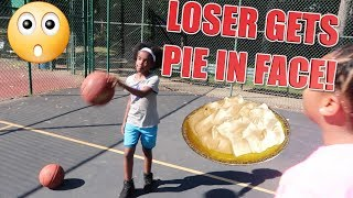 BASKETBALL CHALLENGE! ( LOSER GET PIE IN FACE!)