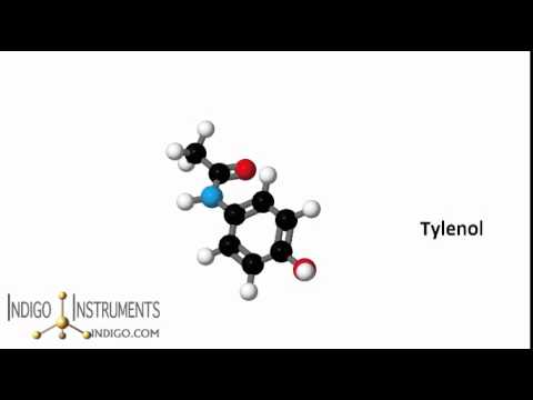 tylenol acetominophen chemical structure spinning model in 3d from indigo instruments