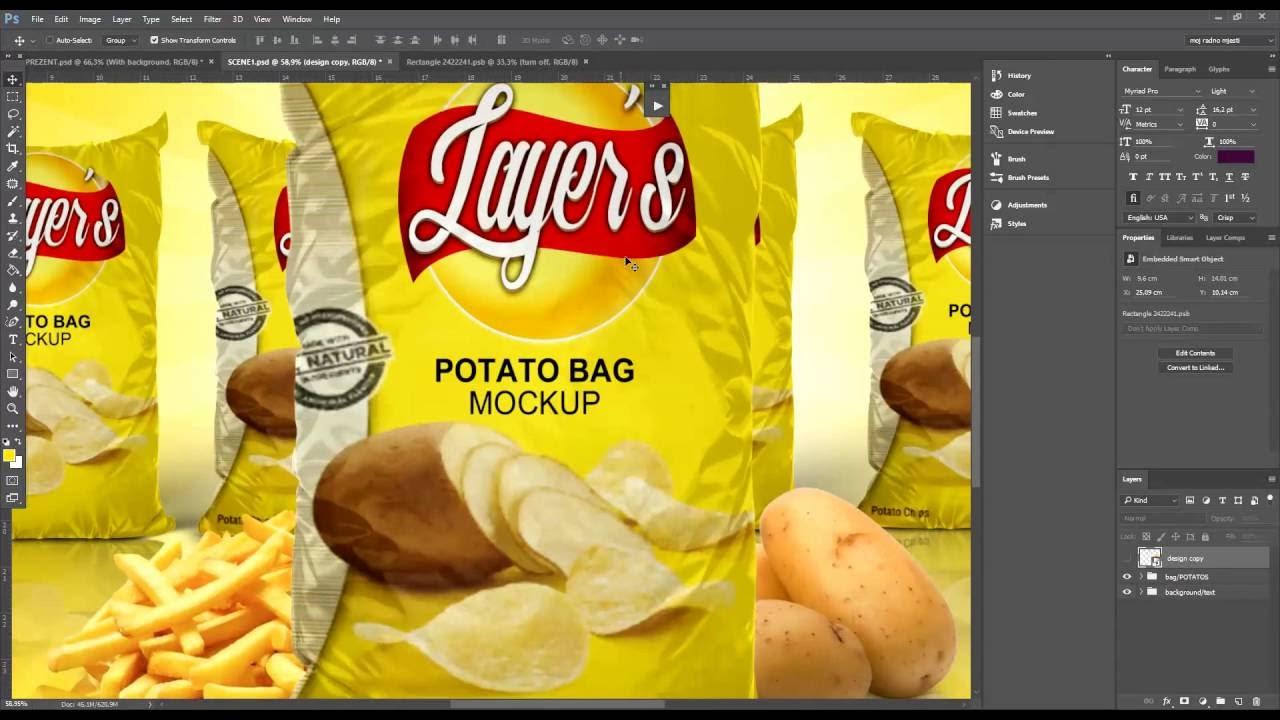 potato chips french fries bag mockup youtube. Black Bedroom Furniture Sets. Home Design Ideas
