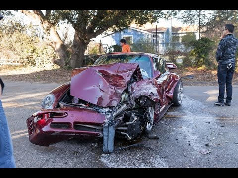 RUF Turbo R and Porsche 997 Crash into Truck on Porsche Drive - Driving While Awesome