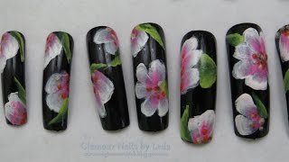 GNbL- Black Nails with Pink and White One Stroke Flowers