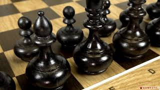 Видео обзор шахмат «Стаунтон» фигурки «Бочата» изготовлены из массива дуба.