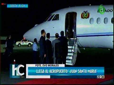 Llegada del Presidente Evo Morales al Aeropuerto Juan Santa Maria de Costa Rica