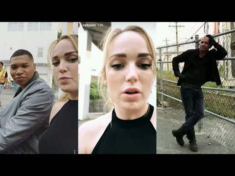 Caity Lotz with Dominic Purcell and Franz Drameh  Instagram Story Videos  August 3 2017