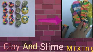 Clay mixing slime  with funny baby music