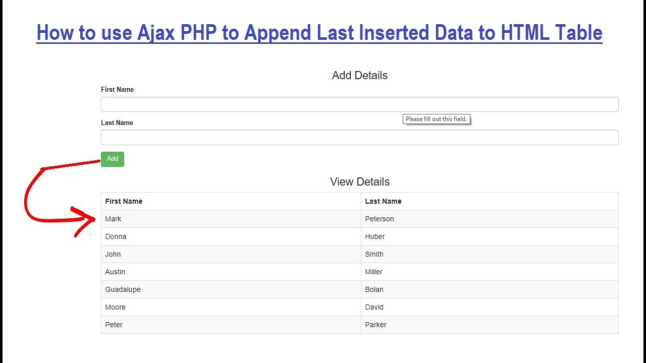 How to Append Database Rows to HTML Table using Ajax with PHP