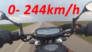 Yamaha MT-07 or FZ-07 - Acceleration 0-244km/h & Startup & Exhaust Sound & Burnout & Wheelie