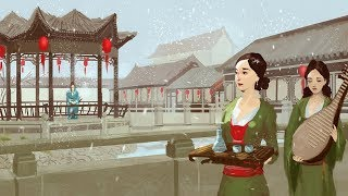 Chinese garden digital painting process