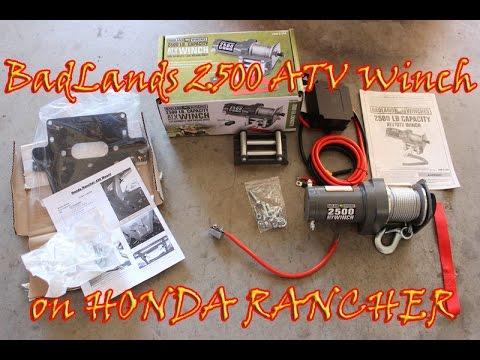 2500 Badlands winch install on a Honda Rancher - YouTube